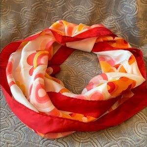 Adrienne Landau 100% silk scarf groovy floral red